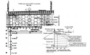 Widok ściany oporowej M3 wraz z przekrojem